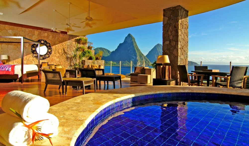 JADE MOUNTAIN - ST. LUCIA, WEST INDIESOne of the most iconic resorts in all of the Caribbean is Jade Mountain because of their private guest sanctuaries. There are so many activities to choose from, like scuba diving, jungle biking, birdwatching, a trip to the organic farm - Emeralds, a fantastic spa with the option to have private massages in your sanctuary, yoga with several renowned instructors, nature hikes and walks, beach circuit training, and a MYRIAD of events throughout the year, like the Mango Madness Festival, Coral Spawning dives and snorkels, Spices of the Caribbean week, Chocolate Discovery Festival, and photography workshops. In addition to what the resort offers, the area in itself is incredible from the drive in volcano to the sulphur springs, the rainforest and the botanical gardens, just to name a few. This property is perfect for couples and high end travelers. -