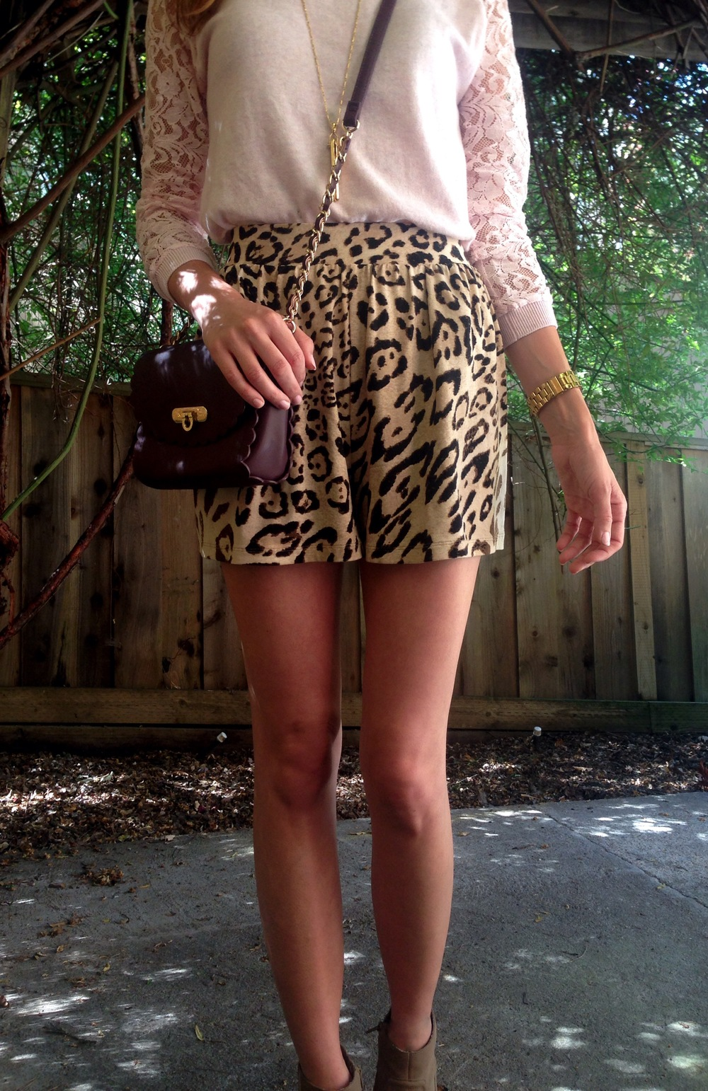 Top: ASOS. Shorts: ASOS. Bag: ASOS. Shoes: Dolce Vita via Tjmaxx. Necklace: Stella & Dot