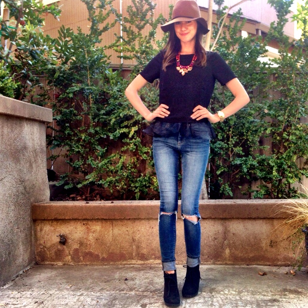 Shop the Look Below. Top: ASOS. Jeans: ASOS. Hat: Target. Shoes: Target. Necklace: Accessory Jane
