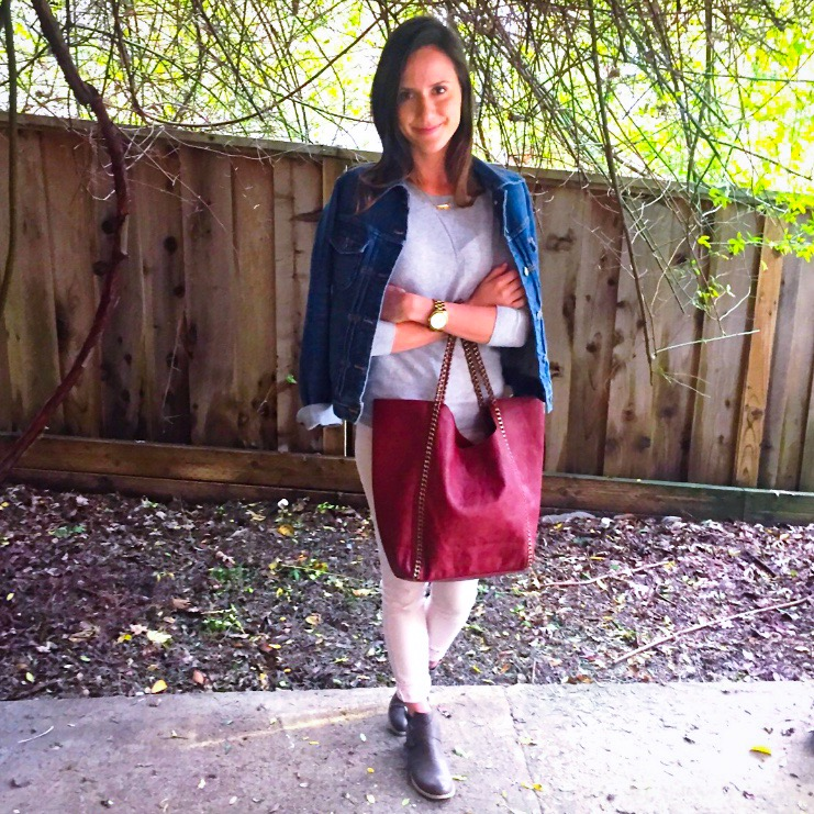 Shop the Look Below. Jacket: Jcrew Factory. Sweater: Gap. Jeans: Jbrand. Shoes: Abound via Nordstrom Rack. Necklace: c/o TAudrey. Bag: Stitch Fix.