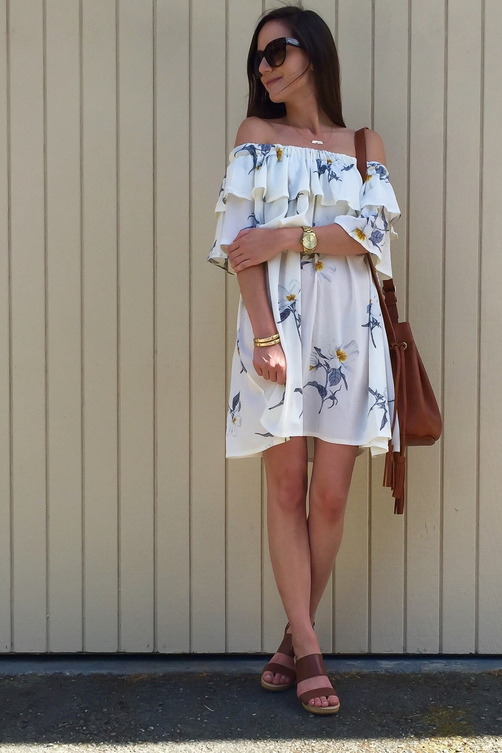 Shop the Look Below. Dress: Chicwish c/o. Shoes: Old Navy. Bag: Street Level via Stitch Fix. (see similar below) Necklace: Taudrey c/o. Watch: Michael Kors. Sunglasses: Lola Accessory Boutique c/o.