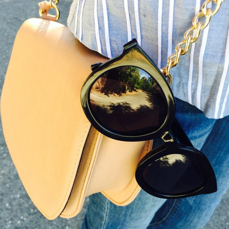 57f1a9569729 Karen Walker Super Duper Strength Sunglasses c o DITTO. Dress  c o SheIn.  Romper (in photo below)  c o SheIn. Braid and Spike Bracelets  c o  BaubleBar.
