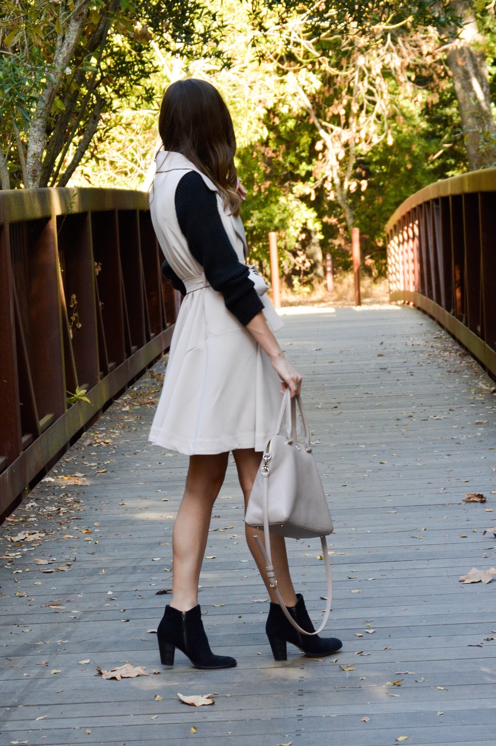 Shop the Look Below. Trench: c/o  Chic Wish . Dress: Merona (old). Similar  here . Booties:  Cole Haan . Bag:  Kate Spade . Watch:  Michael Kors . Sunglasses: See similar  here  and  here .