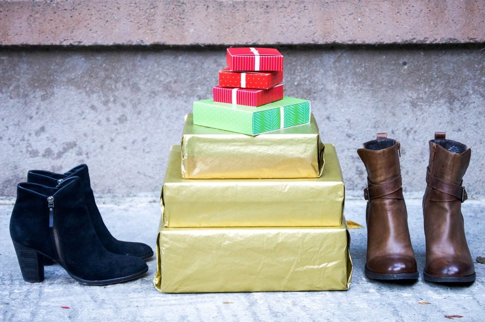 Shop the boots: Black  Cole Haan  boots + brown  Steve Madden  boots