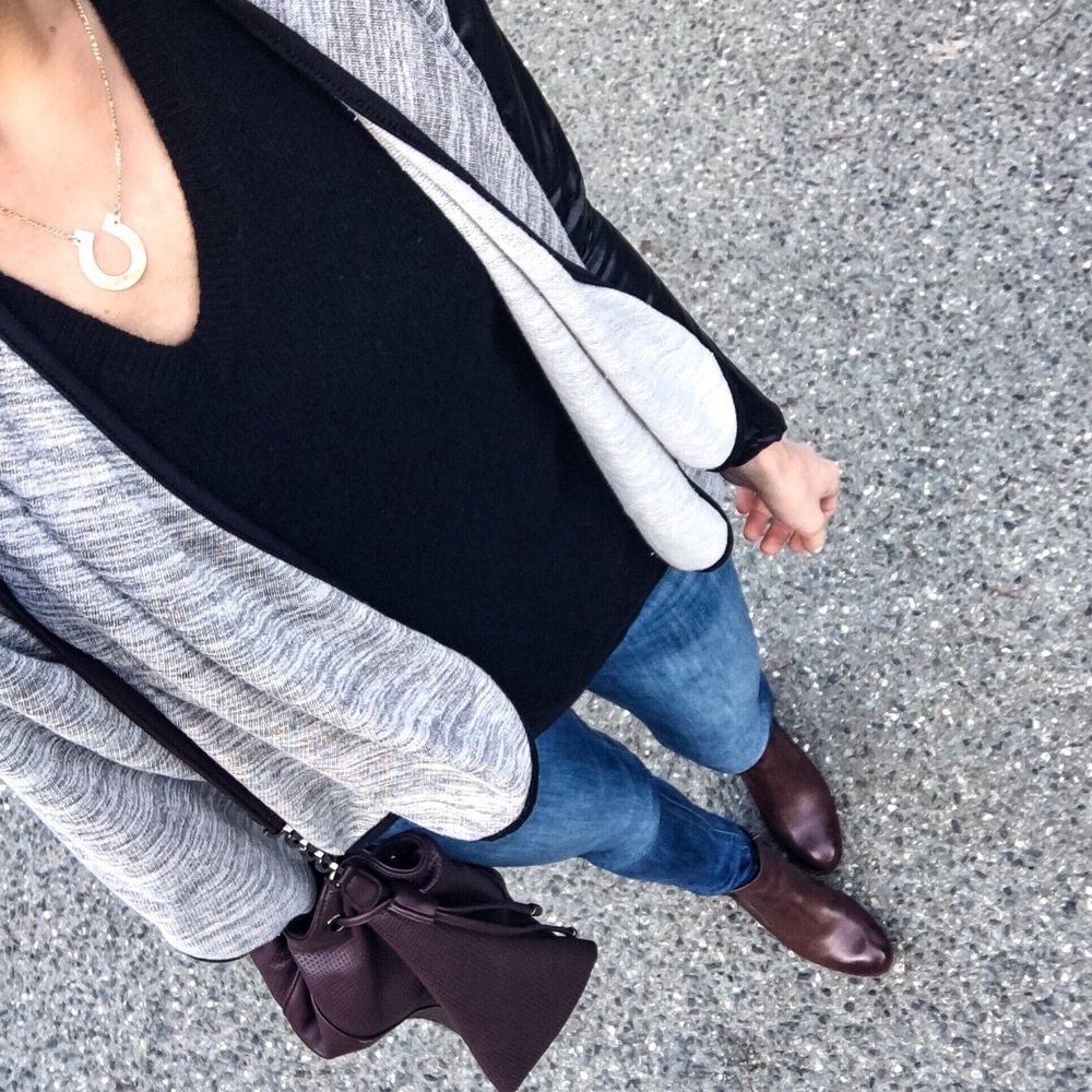 This waterfall cardigan is a great classic with a twist -- the sleeves are faux leather!