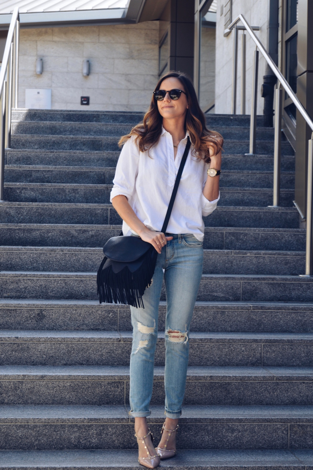 Shop the Look Below. Top: c/o  Lou & Grey . Jeans:  Joe's . Shoes:  Nordstrom . Bag: c/o  Sole Society . Rings: c/o  BaubleBar  (see all below). Sunglasses:  Ray-Ban . Watch: Marc Bale c/o  The Peach Box