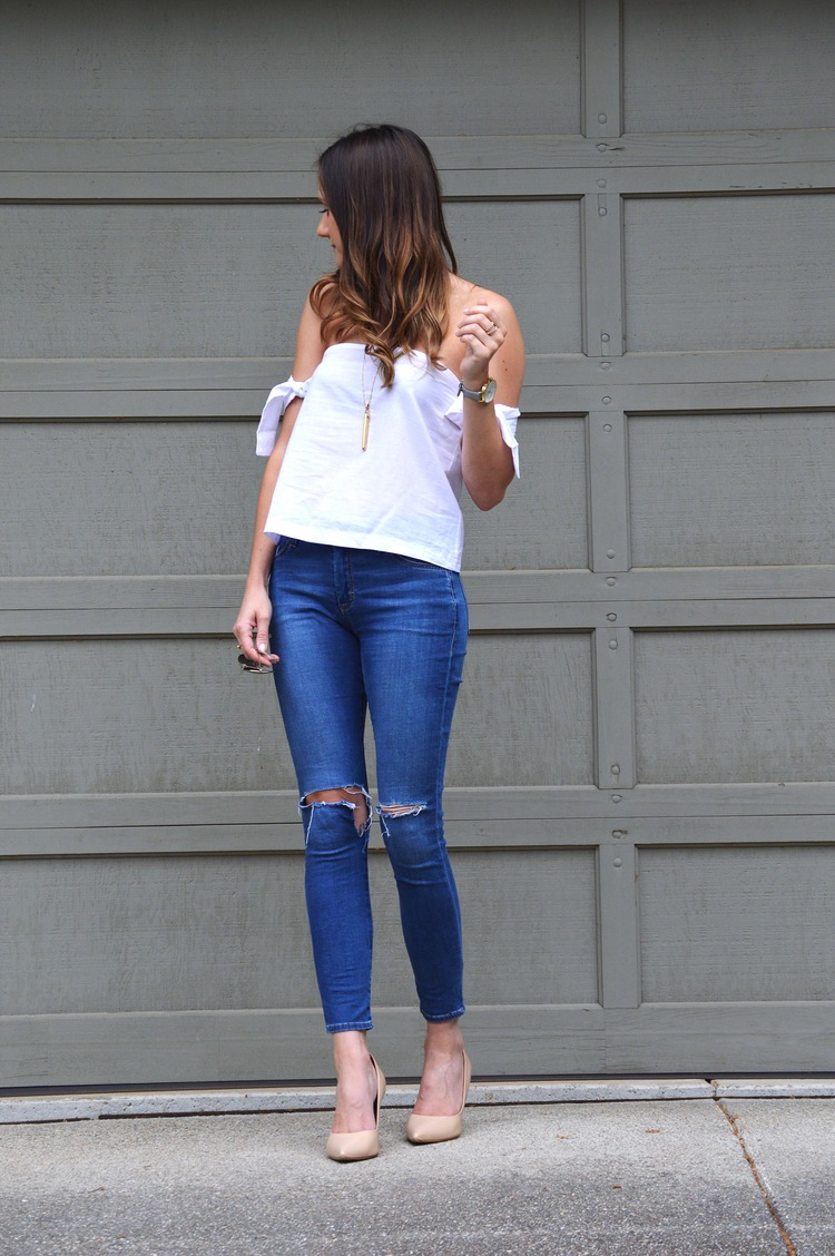94c940b25ab Another day, another white top & denim look. Probably my forever go-to  combination. I've been clearly (possibly way too) obsessed with off-the-shoulder  tops ...