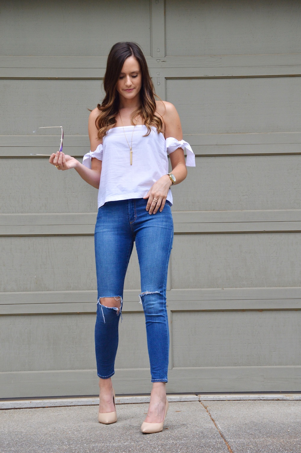 Shop the Look Below. Top: c/o  SheIn . Jeans:  Nordstrom . Shoes:  Steve Madden . Necklace:  Stella & Dot . Sunglasses:  Ray-Ban . Watch:  ILY Couture . Rings: c/o  BaubleBar
