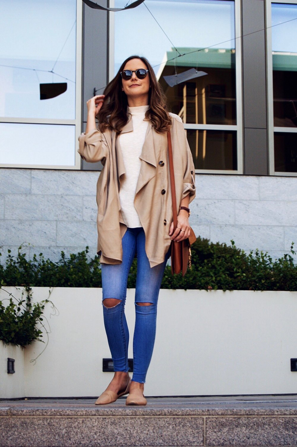 Shop the Look Below. Top: Nordstrom. Jacket: J.Coda Clothing c/o. Jeans: Nordstrom Rack. Shoes: Vince (sold out), similar here. Bag: SheIn c/o. Watch: Daniel Wellington c/o. Sunglasses: Ray-Ban. Rings: Gorjana c/o