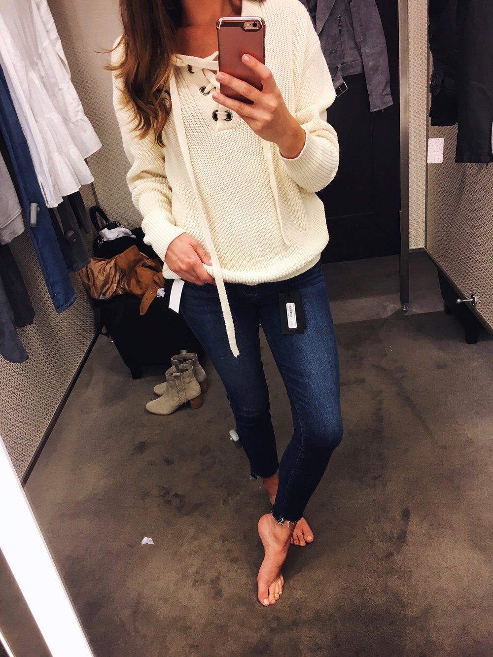 Top:  J.O.A.  Jeans:  Paige