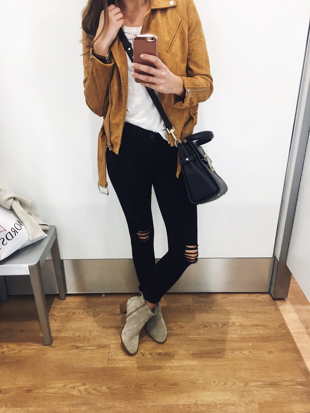 Jacket:  Shopbop . Bag:  LUANA Italy . Off-Shoulder Tee:  Urban Outfitters . Jeans: Hudson. Similar  here . Boots:  Coconuts by Matisse .