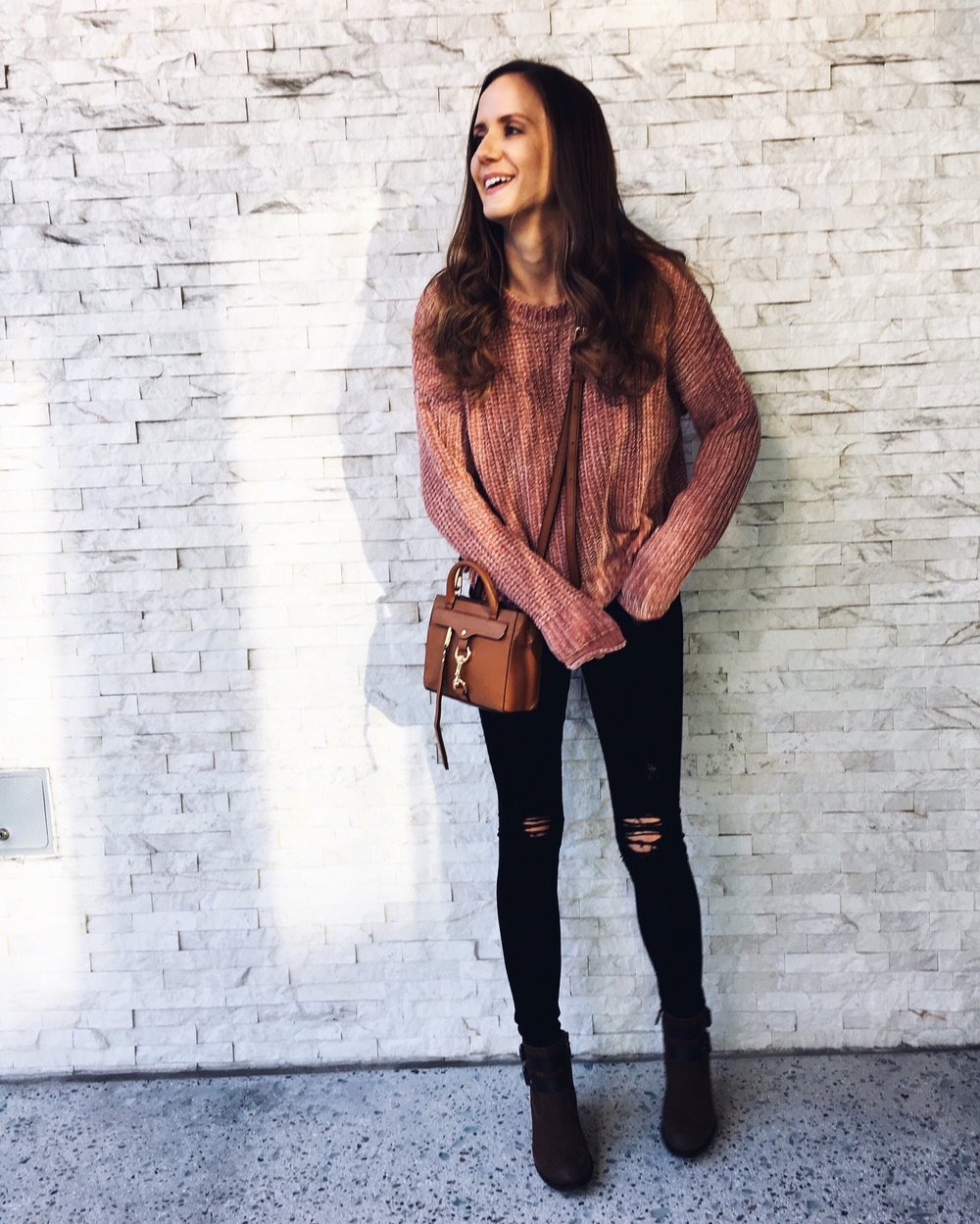 Shop the Look Below.  Zara Sweater  - Similar  HERE  | AG Jeans, Similar  here  |  Franco Sarto Booties  |  Rebecca Minkoff Bag