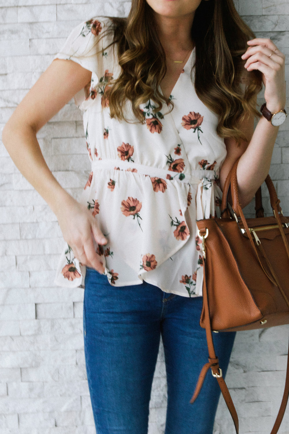 Floral Top and Cognac Satchel
