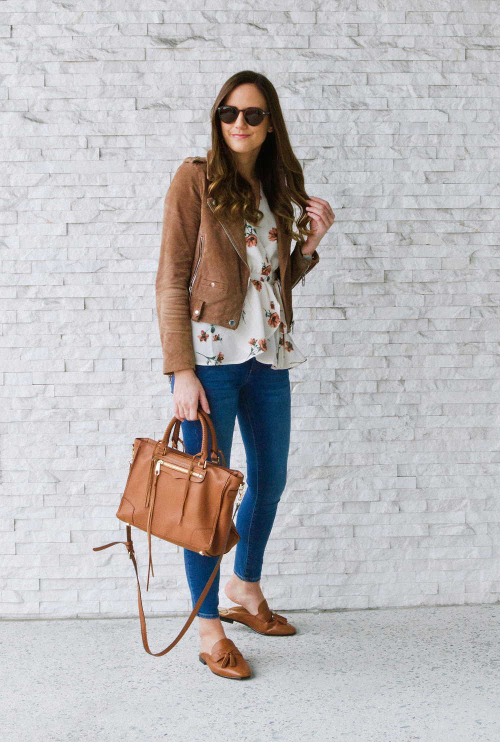 Tan Faux Suede Jacket and Floral Top