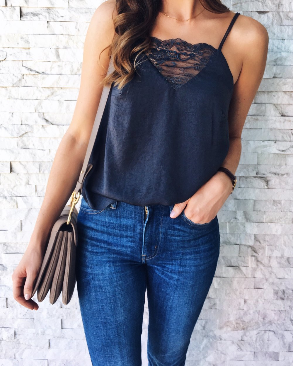 Navy lace cami