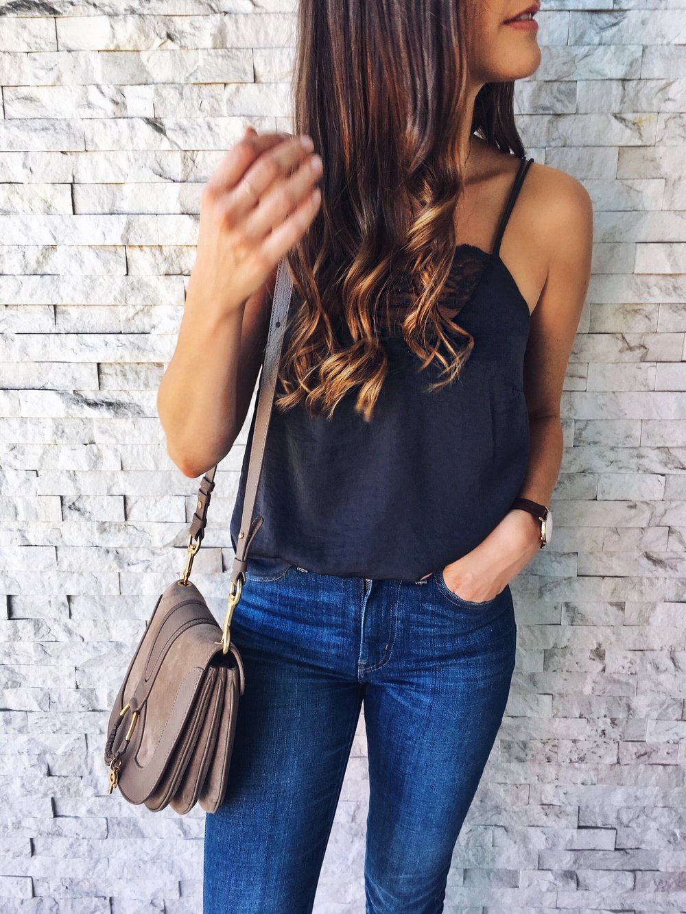 Navy silk cami date night outfit