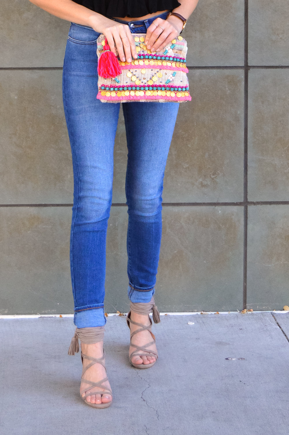 Boho beaded tassel clutch