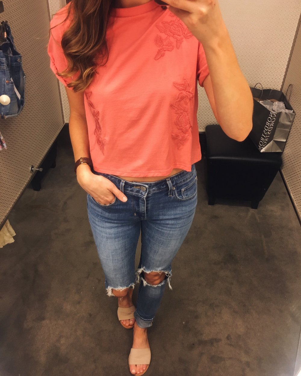 Topshop Tee | Levi's Jeans | Nordstrom Sandals