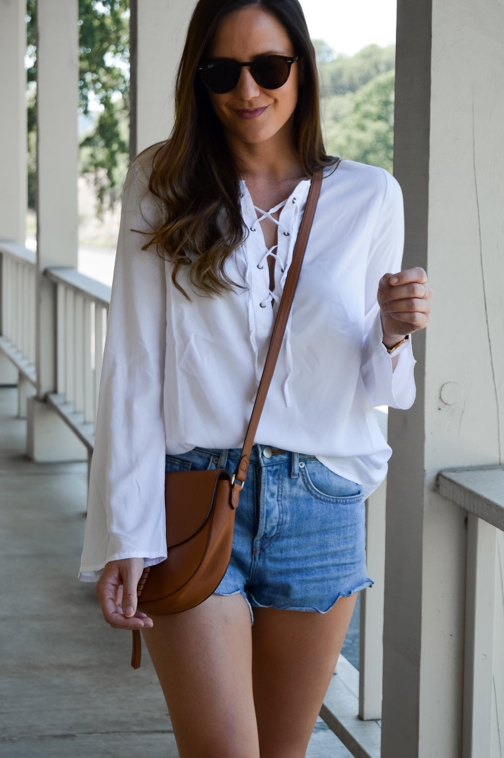 cognac crossbody and white summer outfit