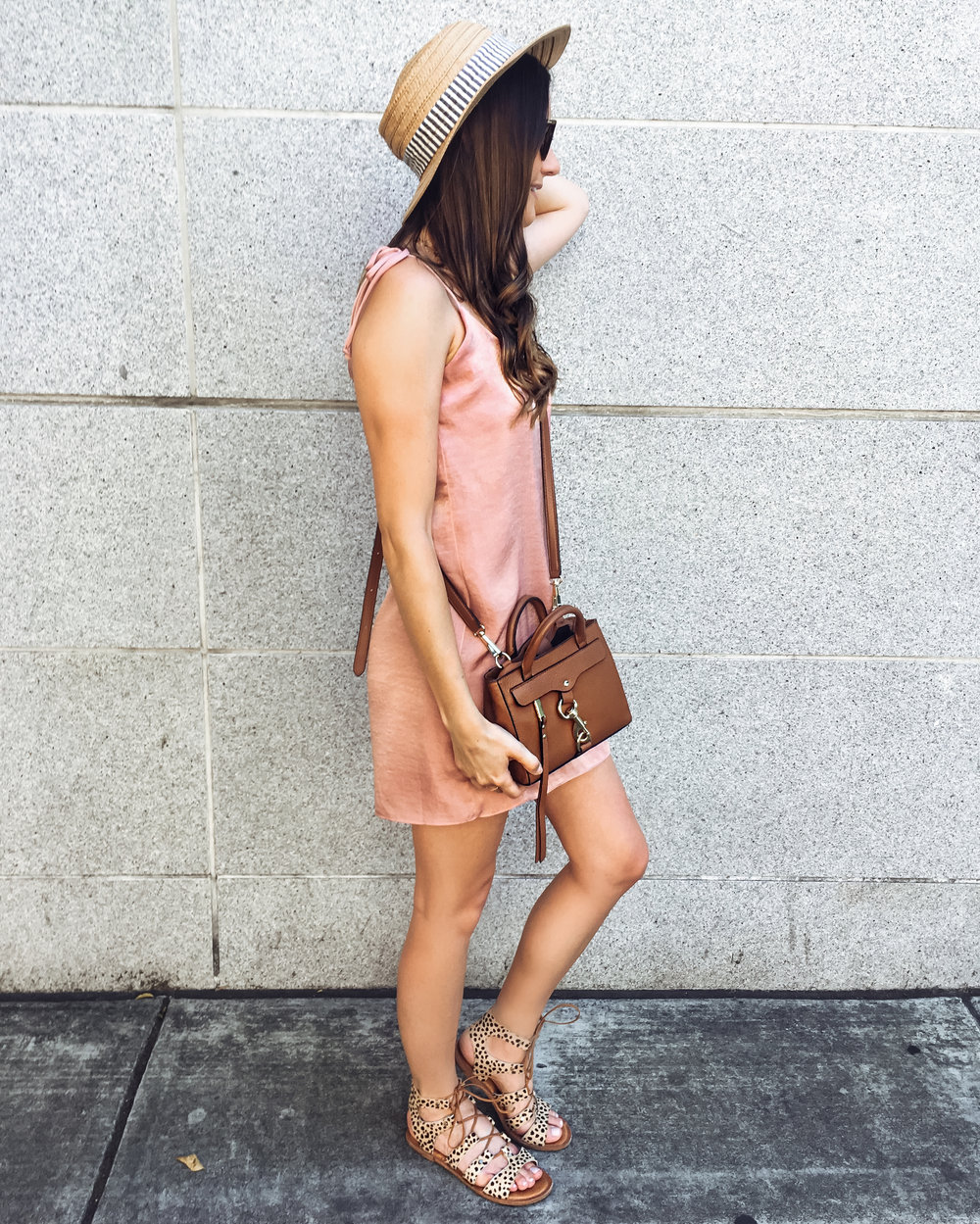 Shop the Look Below.  Nordstrom Dress  |  Dolce Vita Sandals  |  Nordstrom Hat  |  Rebecca Minkoff Bag  | Nordstrom BP necklace - similar  here