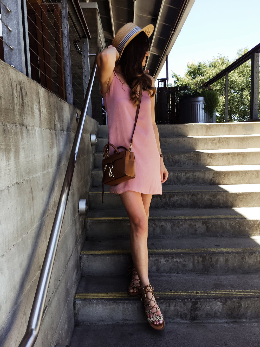 Blush pink satin slipdress