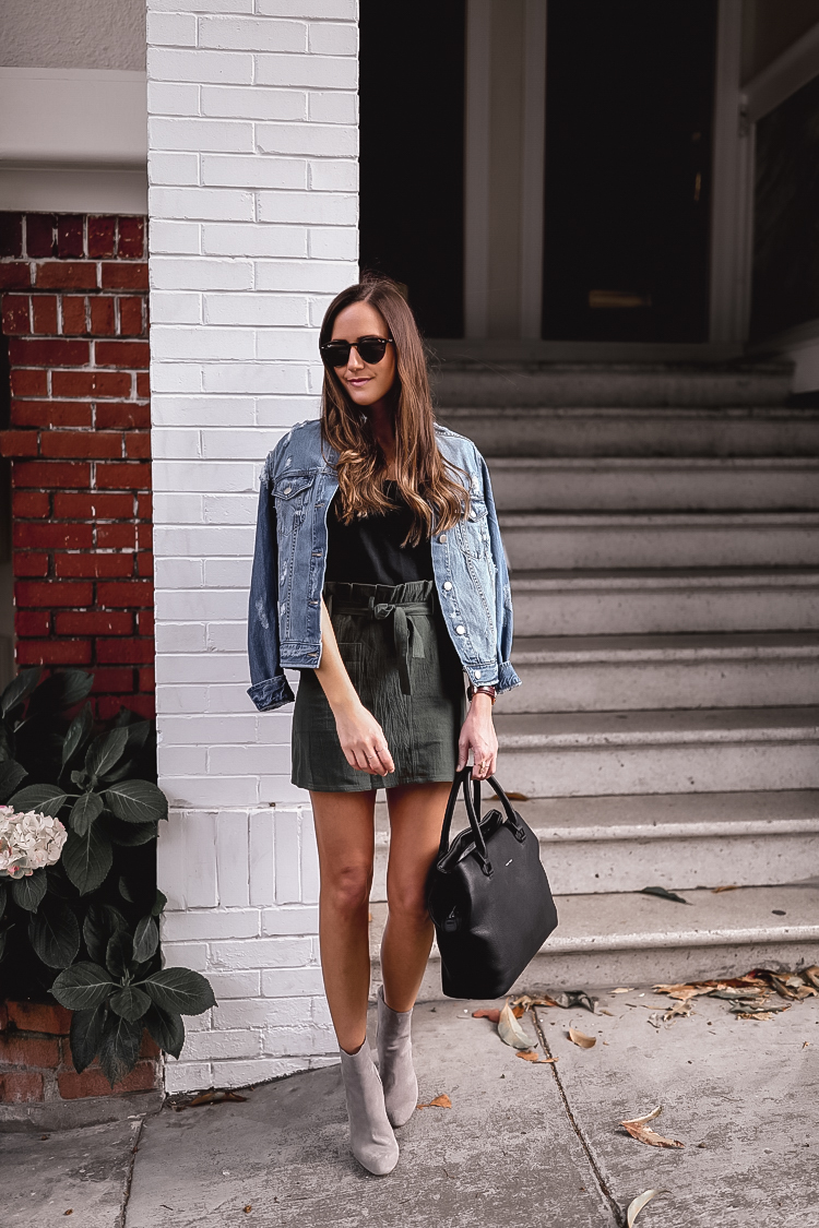 Shop the Look Below.  Madewell Tee  |  Nordstrom BP Jacket  |  Steve Madden Booties  |  Nordstrom Bag  |  Ray-Ban Sunglasses  |  Nordstrom Ring
