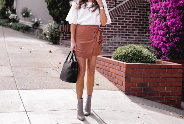 peach wrap miniskirt