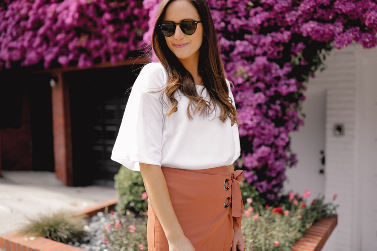 Rust wrap skirt