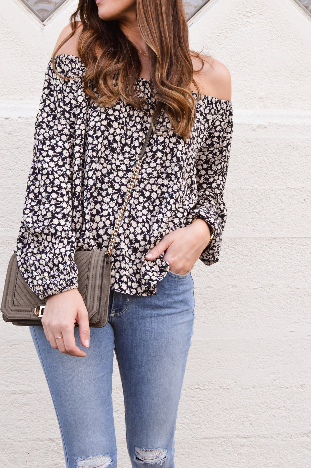 black floral off the shoulder