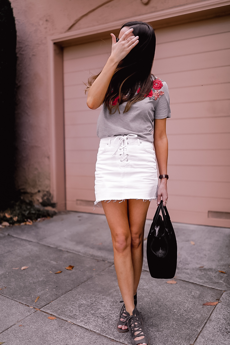 Shop the Look Below.  Topshop Tee  |  Topshop Skirt  |  Vince Camuto Shoes  |  Nordstrom Tote  |  Ray-Ban Sunglasses