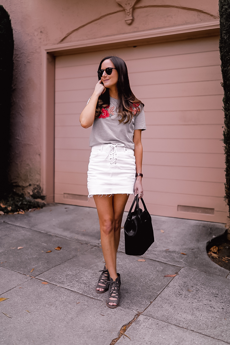 White denim skirt and tee