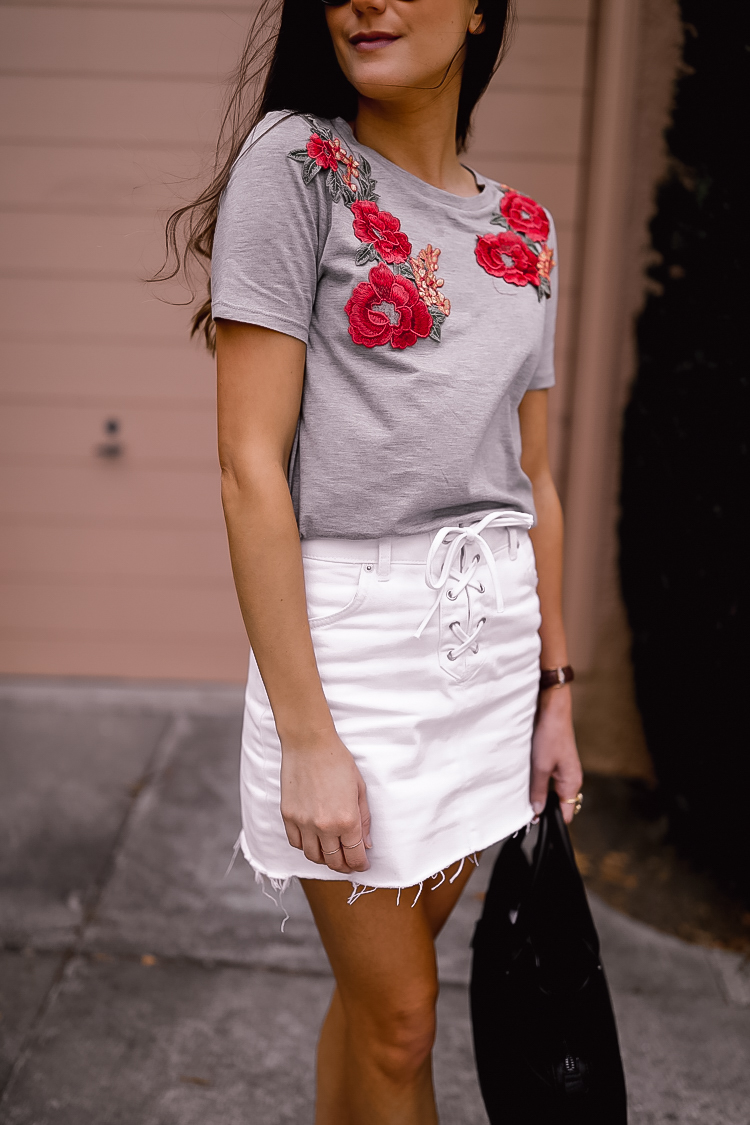 White denim skirt embroidered tee