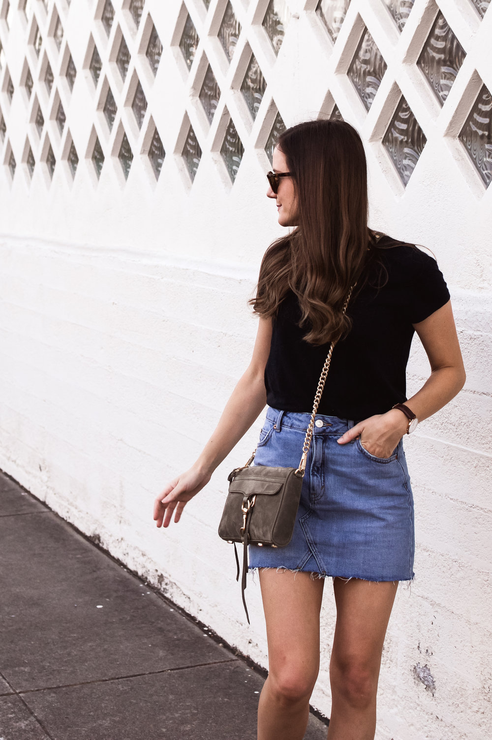 olive crossbody denim skirt