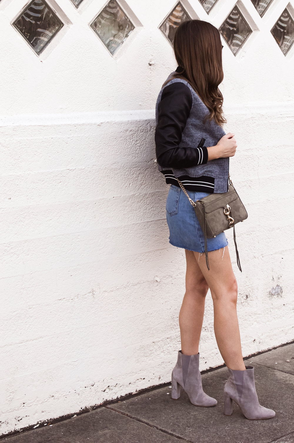 denim skirt and bomber jacket
