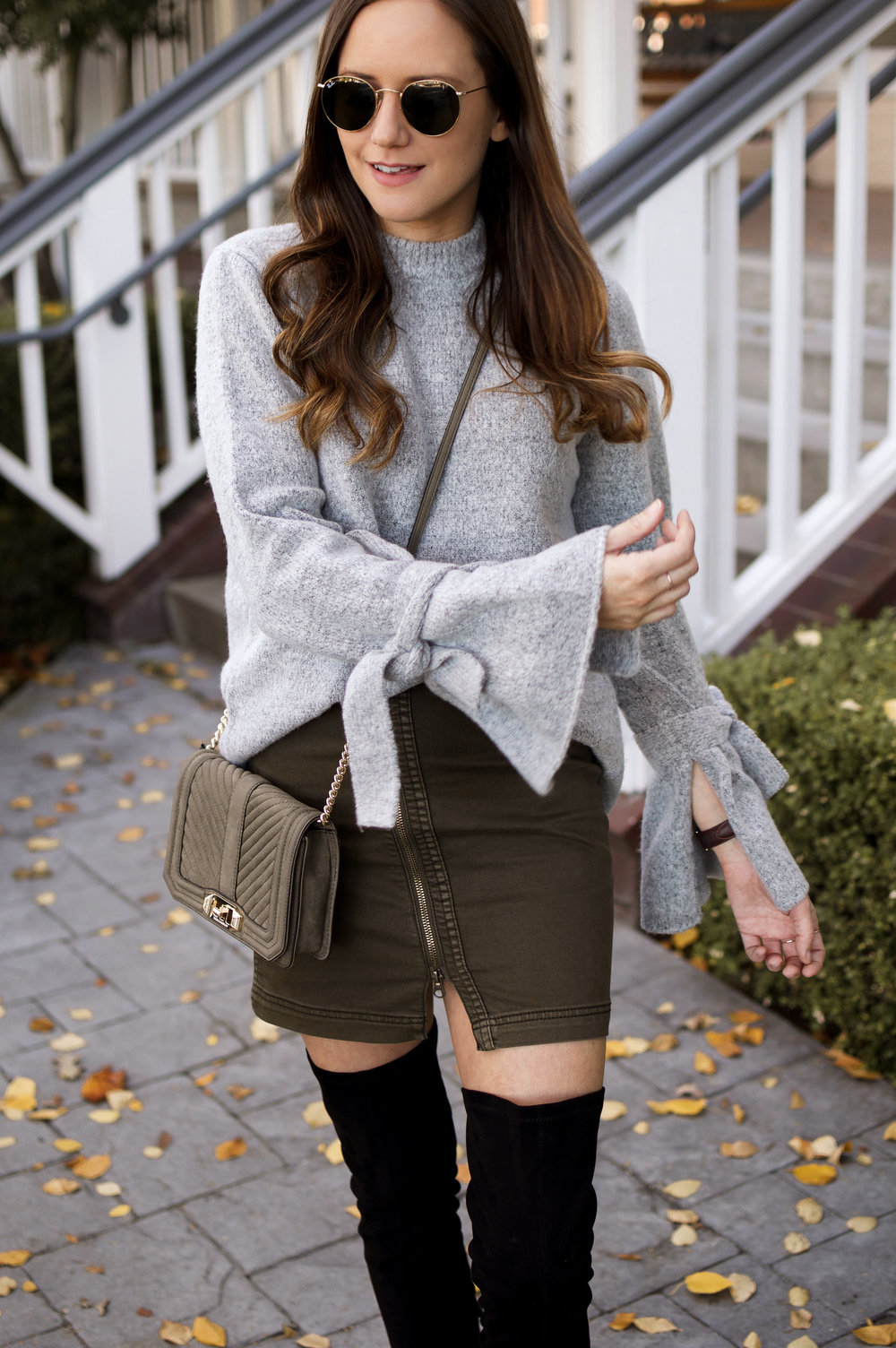 grey tie-sleeve sweater