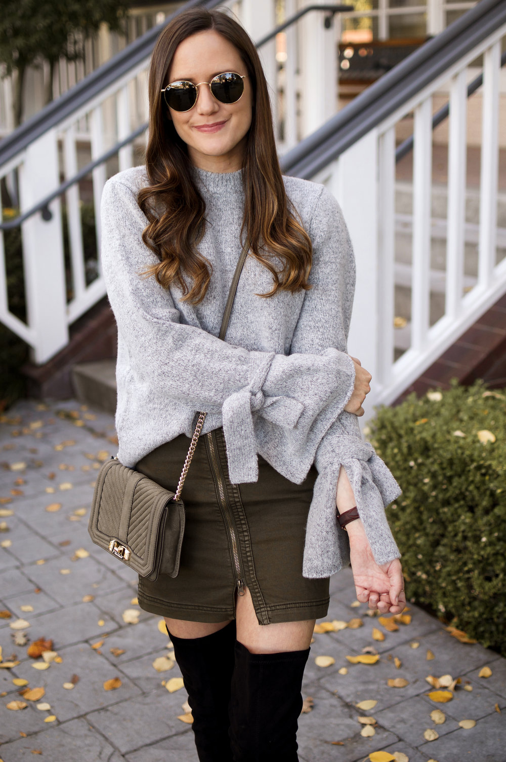 olive skirt and grey sweater