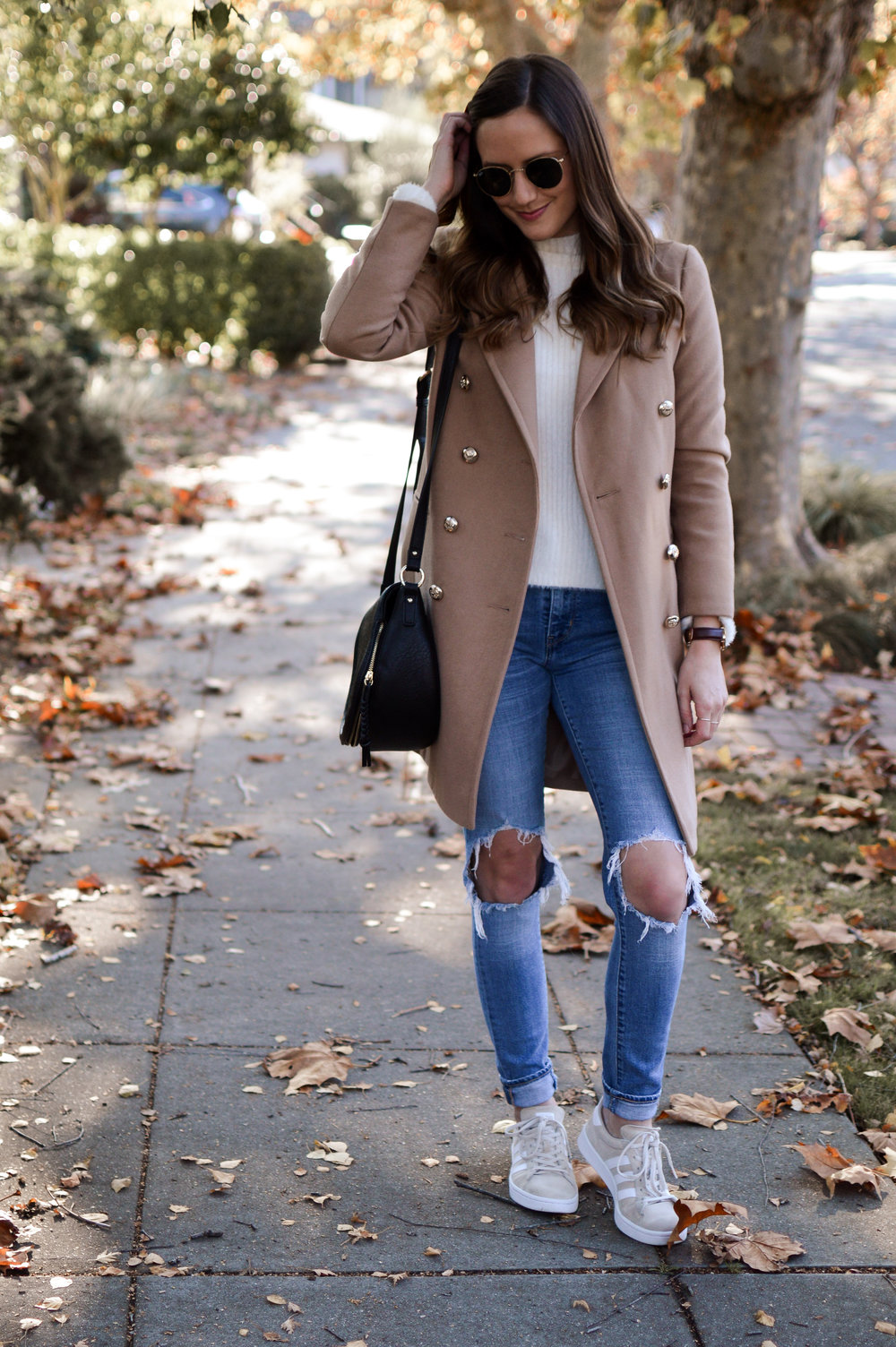 Camel Coat and Sneakers