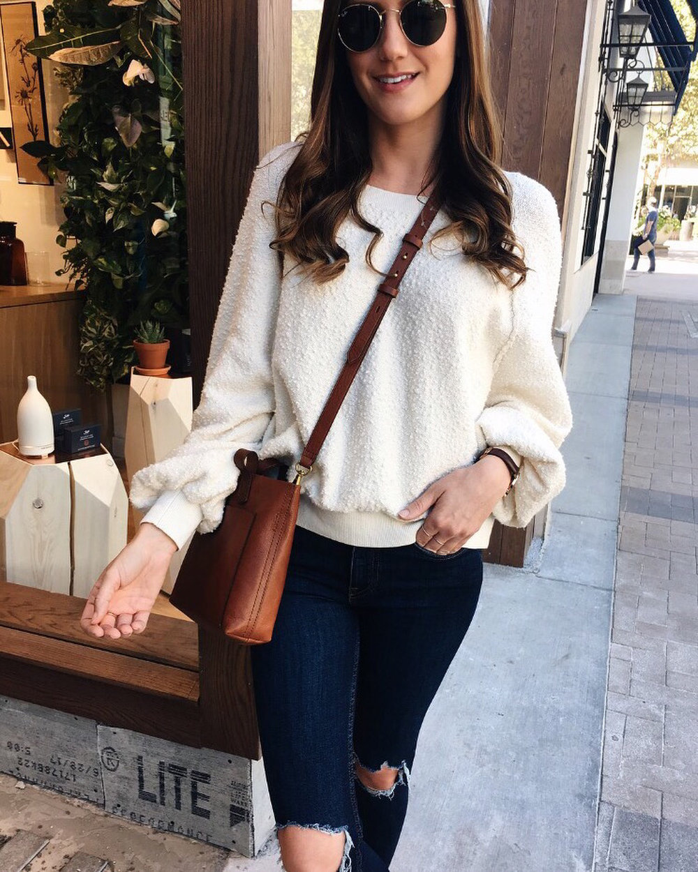 cream sweater dark denim