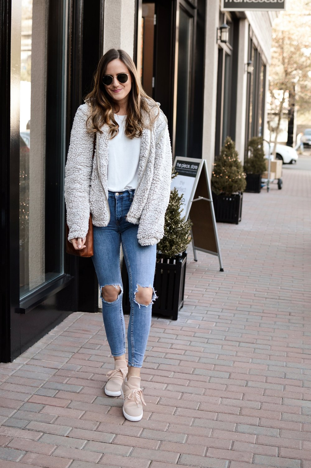 Shop the Look Below.  Thread & Supply Jacket  |  Steve Madden Sneakers  |  Ray-Ban Sunglasses  |  Madewell Tote