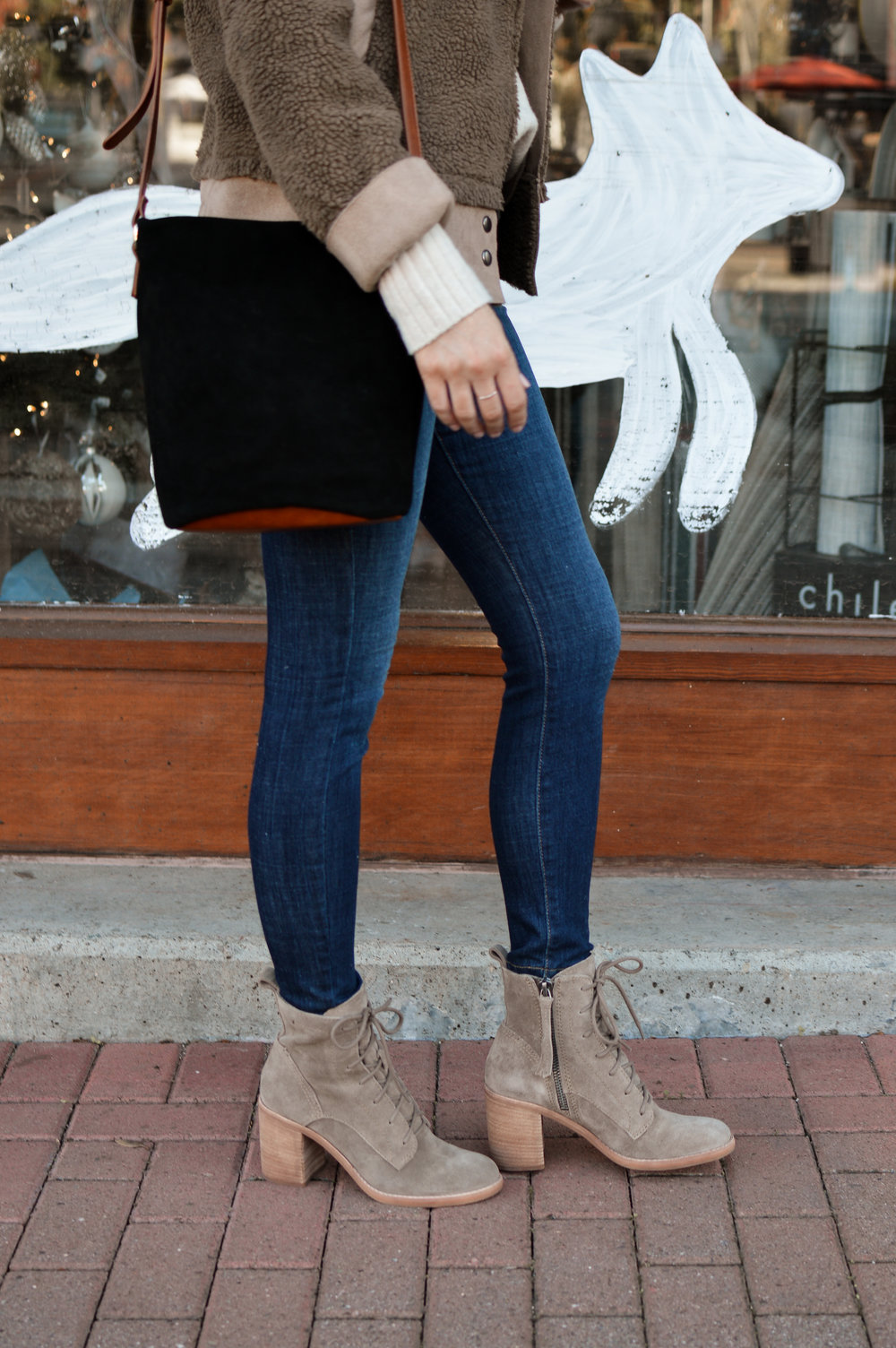 taupe lace-up boots