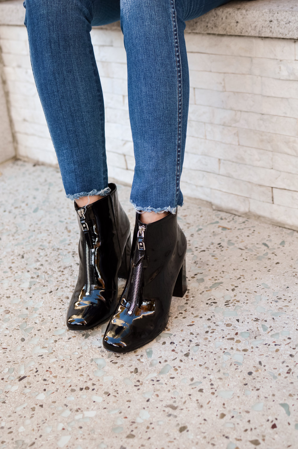 black patent booties
