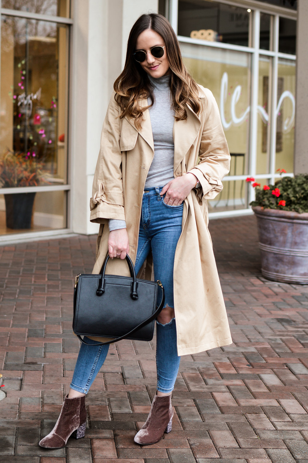 Shop the Look Below. Topshop Trench Coat | Topshop Top | Free People Jeans | Nordstrom Booties | Fossil Satchel c/o  | Ray-Ban Sunglasses