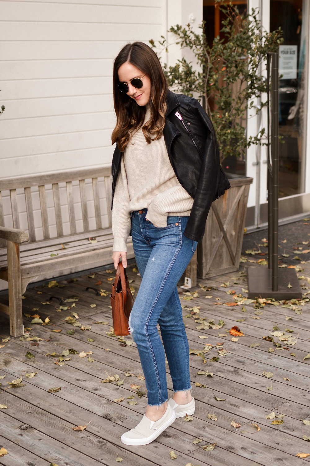 Shop the Look Below.  Nordstrom Sweater  |  Madewell Jeans  |  BlankNYC Jacket  (mine is last year's version) |  Vans Sneakers  |  Madewell Tote  |  Ray-Ban Sunglasses