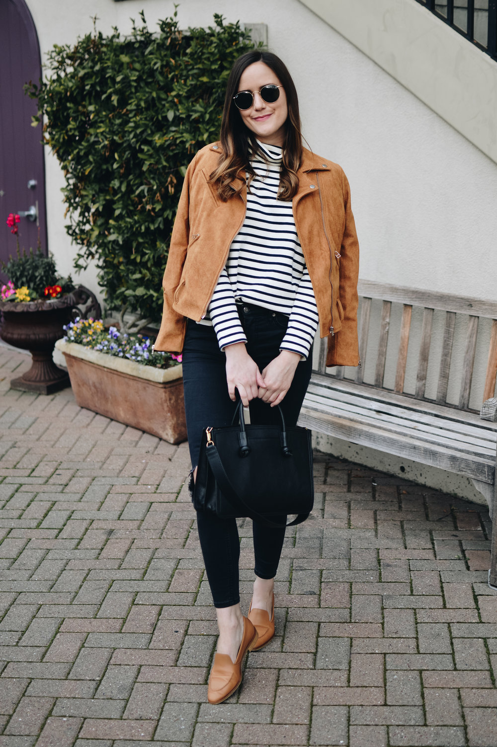 Shop the Look Below.  Madewell Top  |  Free People Jeans  |  Shopbop Jacket  - sold out, linking similar below |  Everlane Flats  |  Ray-Ban Sunglasses  |  Fossil Satchel  c/o