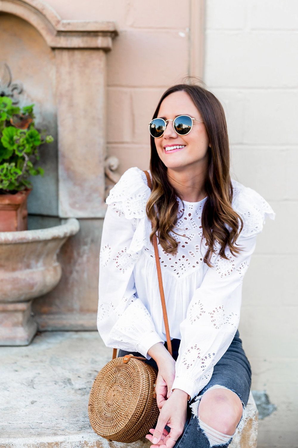 white ruffle top outfit