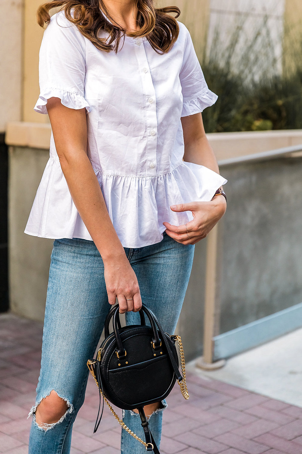 e1900ba49b White Peplum Button-Down and Denim — Girl Meets Gold