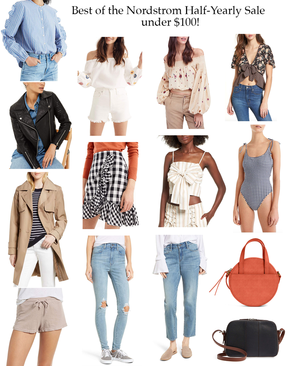 From left to right.  Blue Striped Top  |  White Off Shoulder  |  Balloon Sleeves  |  Tie Top  |  Moto Jacket  |  Gingham Skirt  |  Tie Top  |  Gingham One-Piece  |  Trench Coat  |  Levi's Jeans  |  Boyfriend Jeans  |  Madewell Bag  |  Lounge Shorts  |  Camera Bag