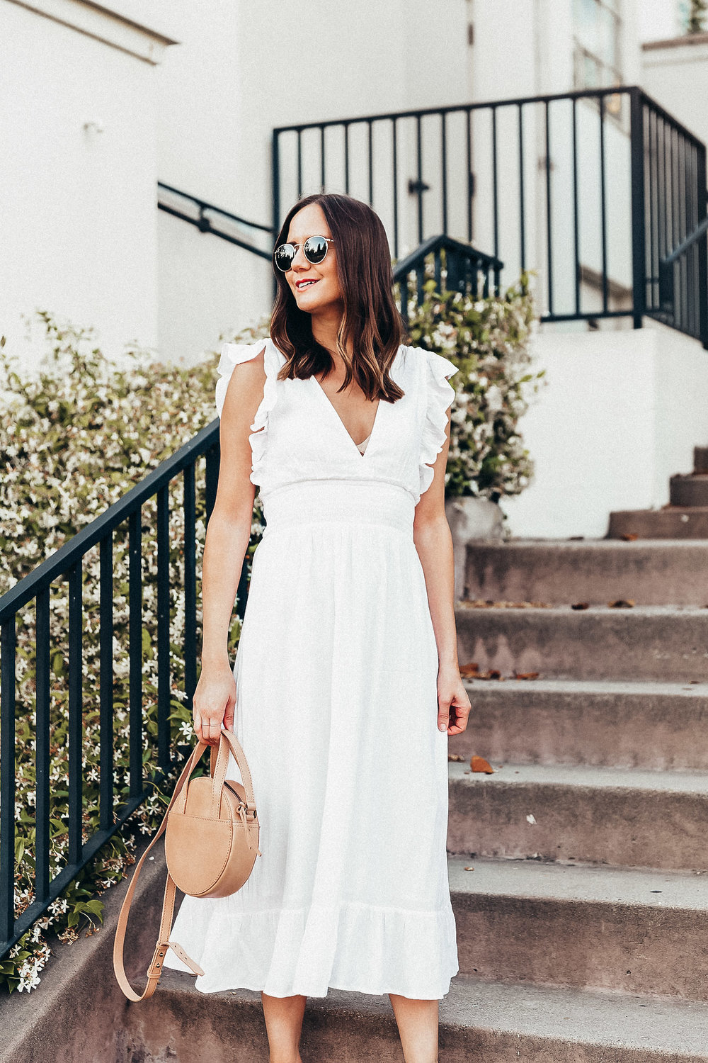 The Details:  Nordstrom Dress  |  Bella Vita Sandals  |  Madewell Bag  |  Ray-Ban Sunglasses  |  Madewell Pavé Circle Ring