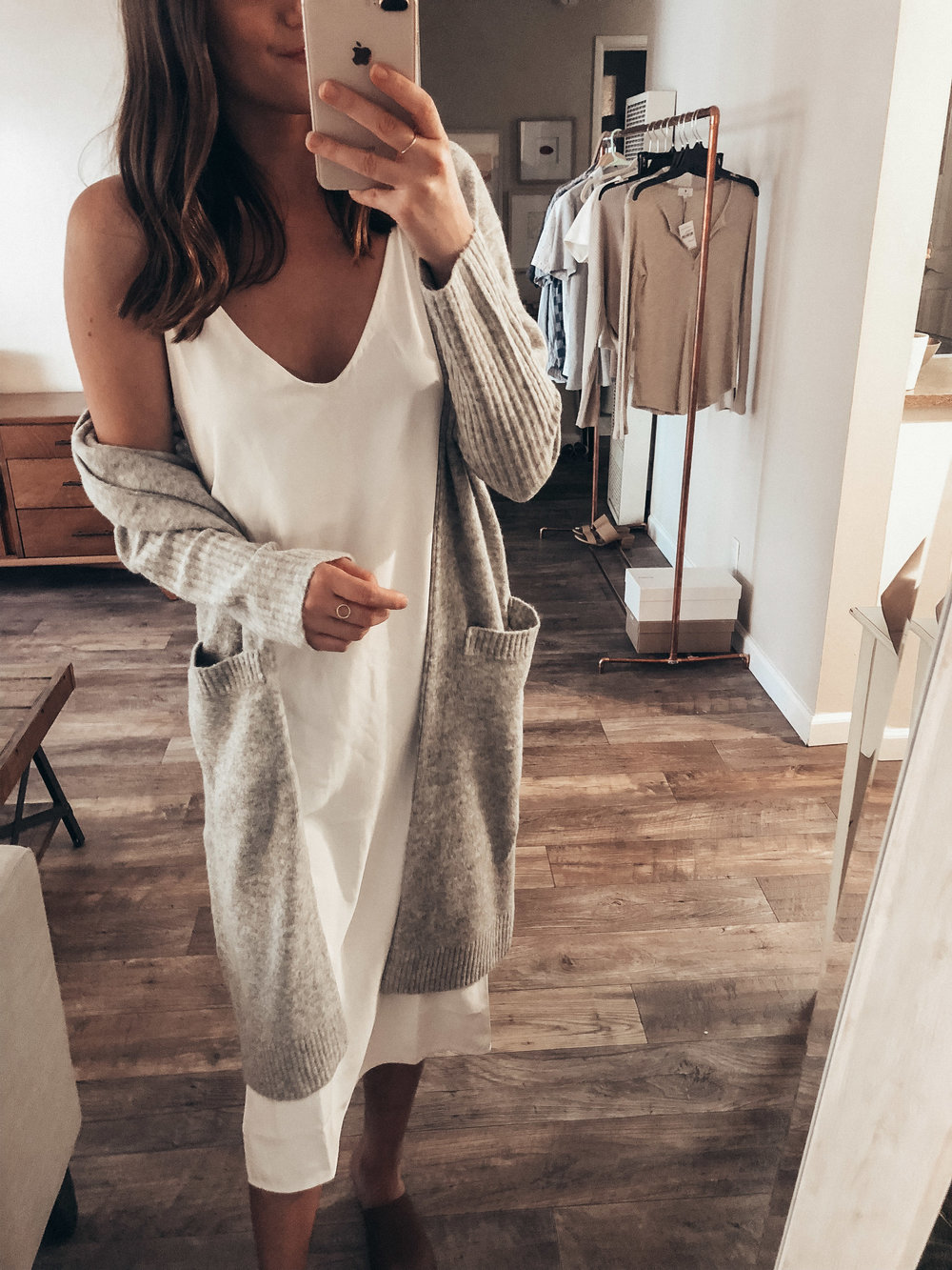 grey duster cardigan white slip dress