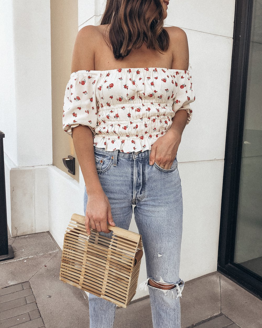 ruched floral top
